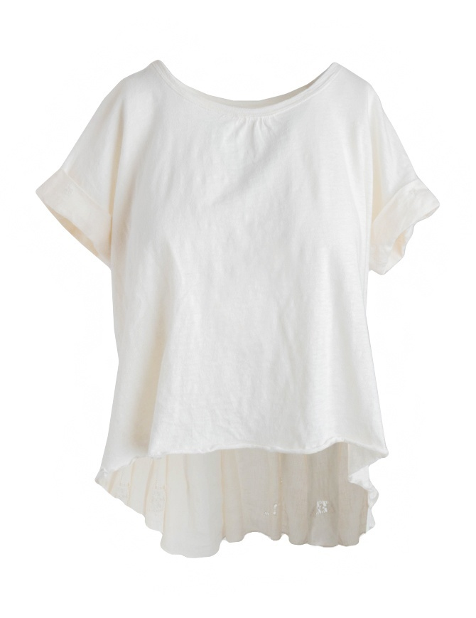 Kapital white ivory T-shirt with hand-embroidered linen tail K1603SS076 WHITE womens t shirts online shopping