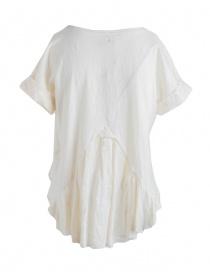 T-shirt Kapital bianco avorio con coda in lino ricamata a mano