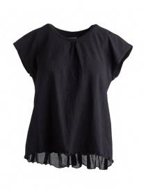 T-shirt Kapital nera con coda a pieghe in lino EK-441 BLK