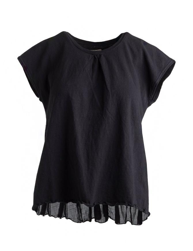 Black Kapital T-shirt with pleated linen tail EK-441 BLK womens t shirts online shopping