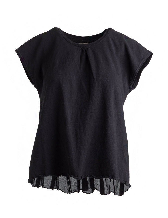 T-shirt Kapital nera con coda a pieghe in lino EK-441 BLK t shirt donna online shopping
