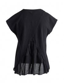 T-shirt Kapital nera con coda a pieghe in lino acquista online