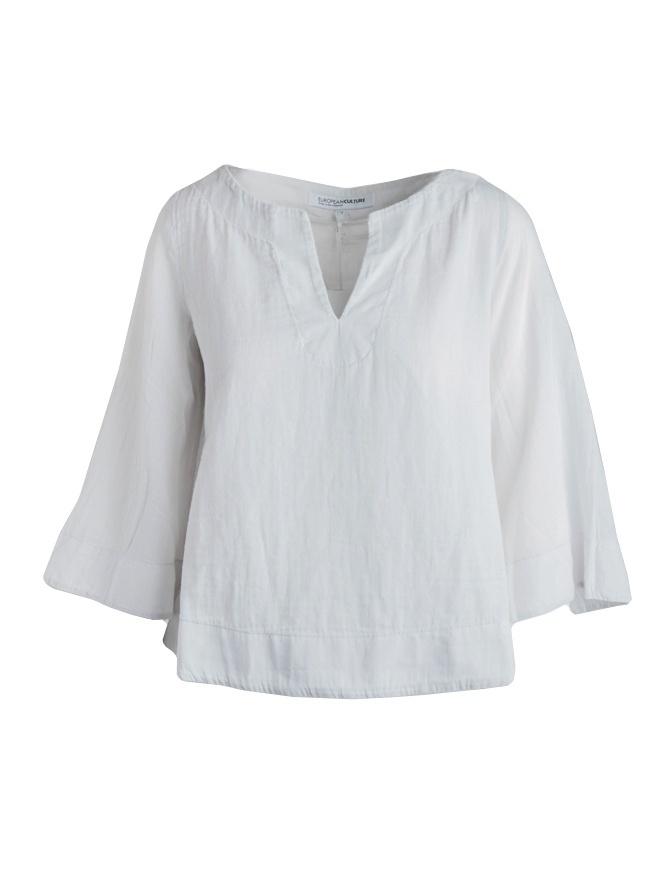 European Culture raw white 3 quarter sleeve shirt 459U 7500 1115 womens shirts online shopping