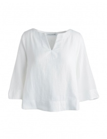 European Culture white three-quarter sleeves shirt 459U 7500 0101