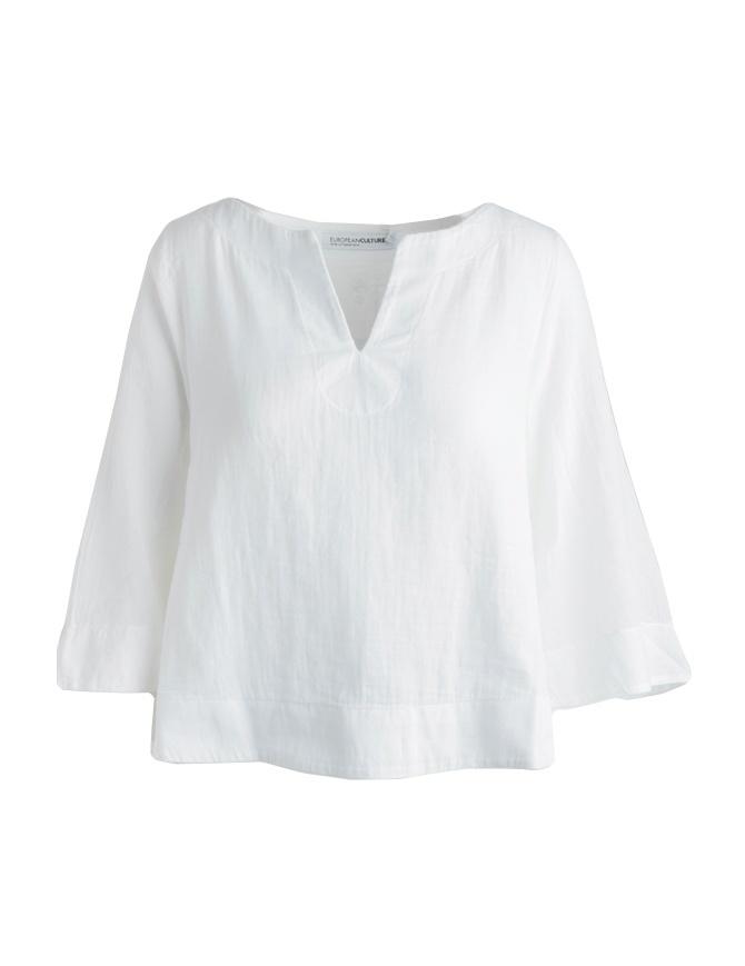 Camicia European Culture bianca maniche a tre quarti 459U 7500 0101 camicie donna online shopping