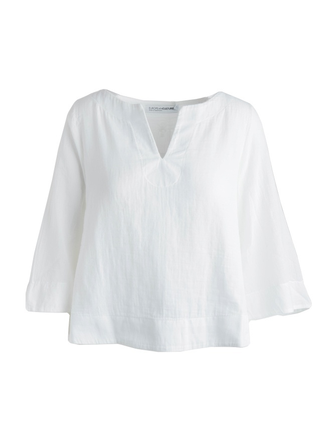 European Culture white three-quarter sleeves shirt 459U 7500 0101 womens shirts online shopping