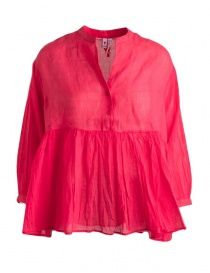 European Culture pleated red blouse with tail online