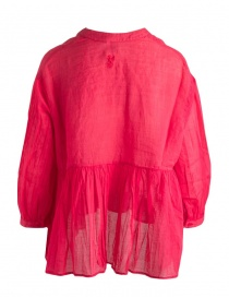 European Culture pleated red blouse with tail