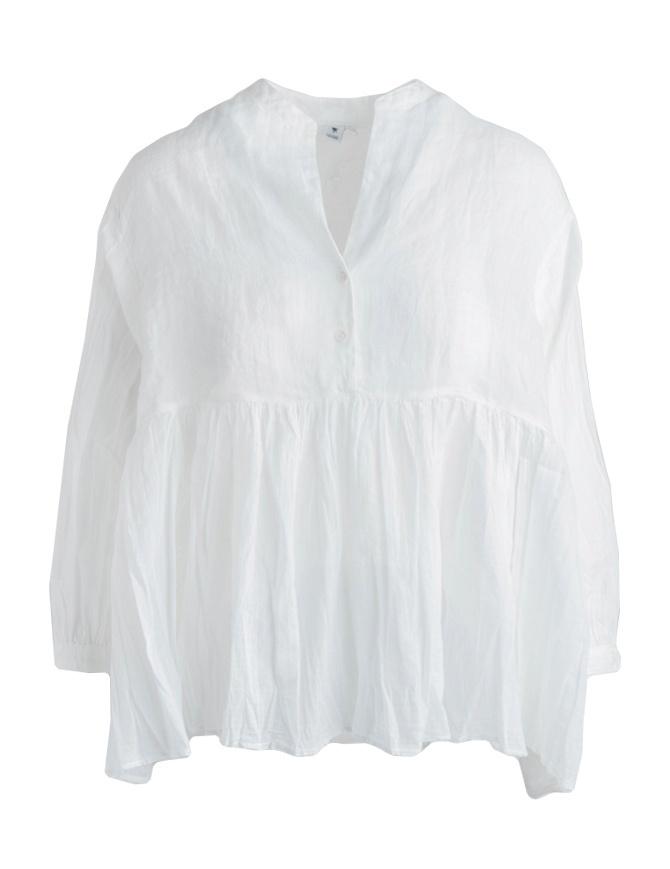 Blusa European Culture bianca plissettata con coda 65NU 7504 0101 camicie donna online shopping