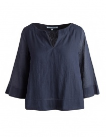 European Culture blue shirt with 3/4 sleeves online