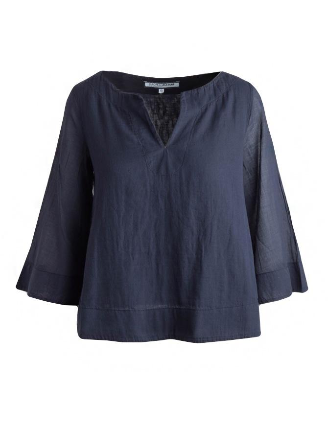 European Culture blue shirt with 3/4 sleeves 459U 7500 1508 womens shirts online shopping