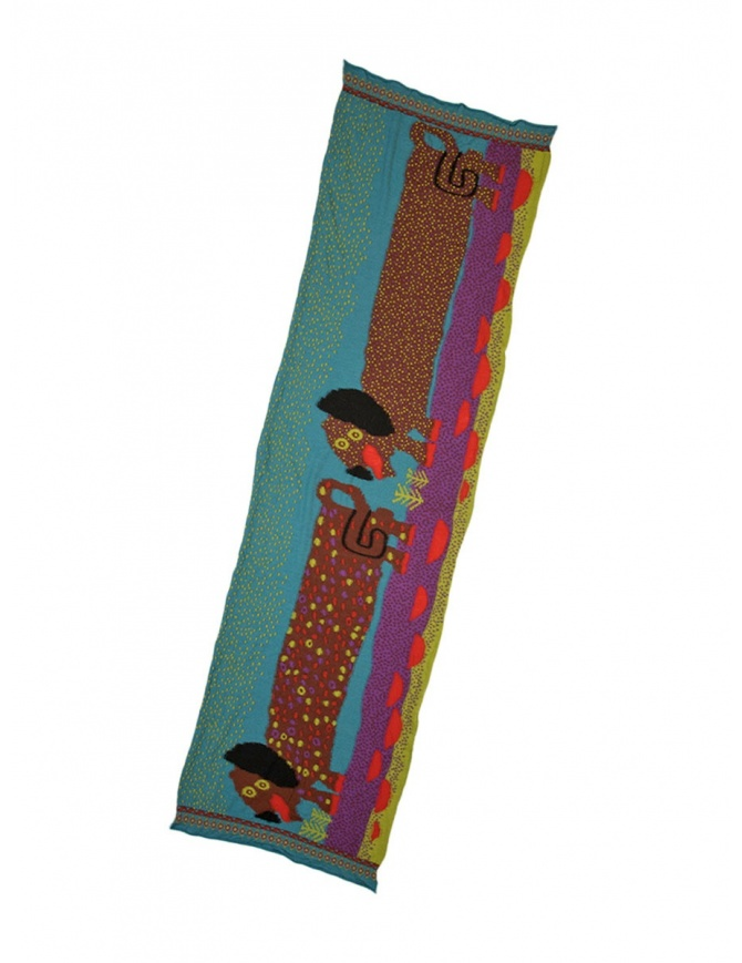 Kapital scarf with dachshund dogs K1711XG612 TURQUOISE SCARF scarves online shopping