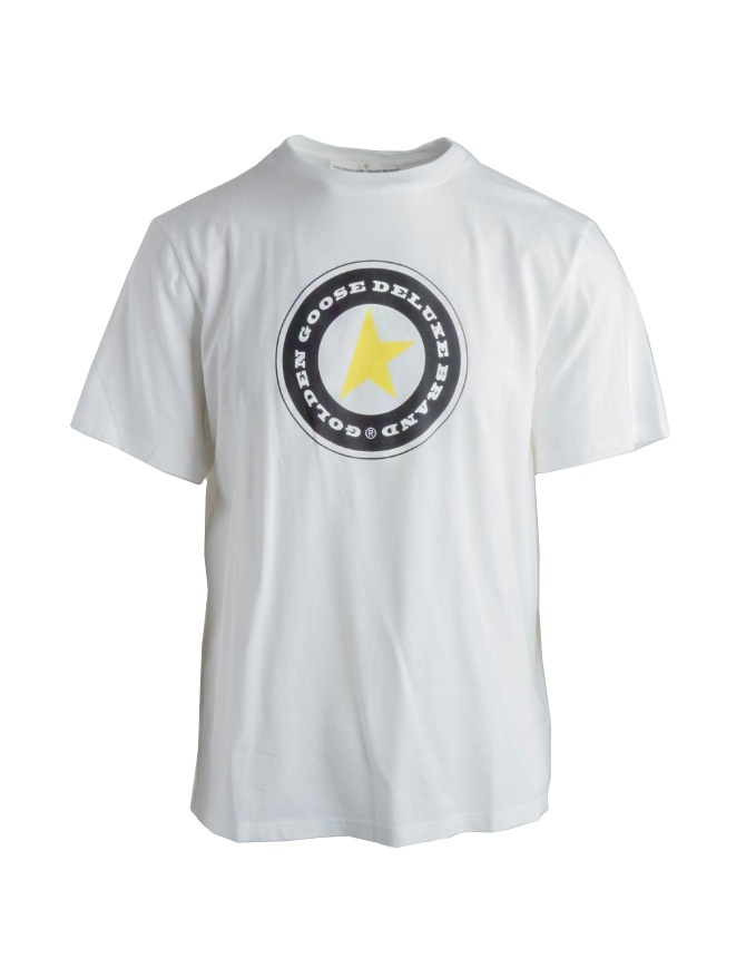 T-shirt Golden Goose bianca con stampa a stella G34MP524.I1 WHITE/GOLDEN STAR t shirt uomo online shopping