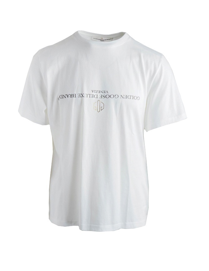 Golden Goose white T-shirt with reversed logo G34MP524.A1-WHITE/REV.LOGO mens t shirts online shopping