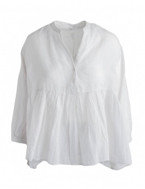 European Culture white ivory pleated blouse with tail 65NU 7504 1115