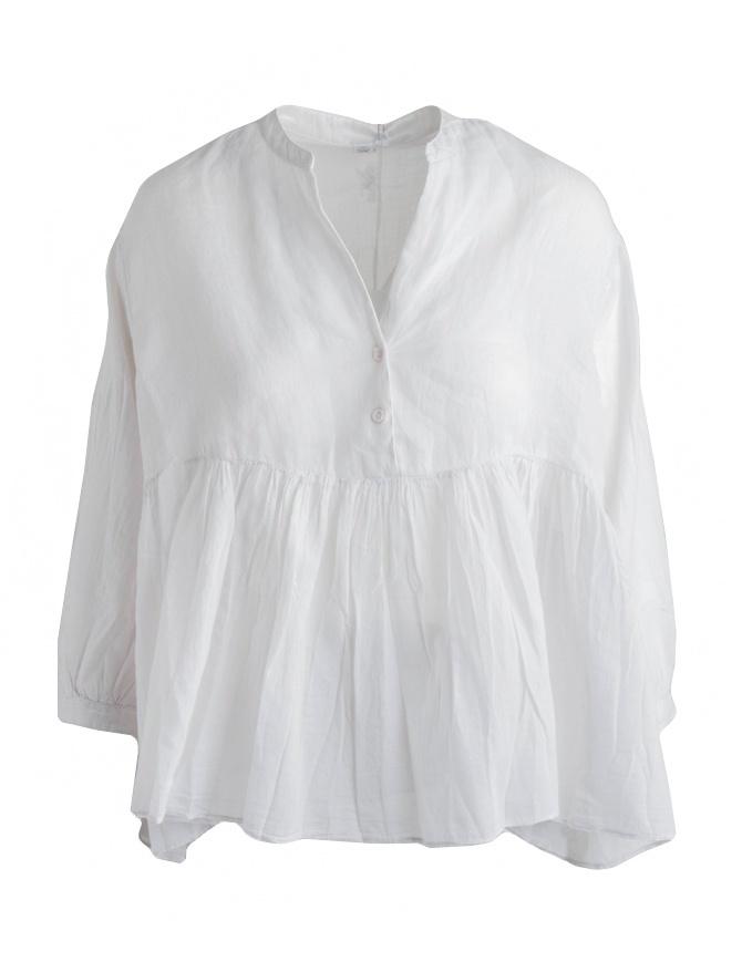 Blusa European Culture bianco avorio plissettata con coda 65NU 7504 1115 camicie donna online shopping