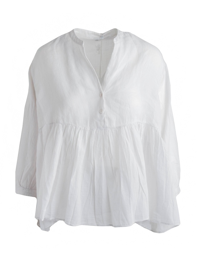 European Culture white ivory pleated blouse with tail 65NU 7504 1115 womens shirts online shopping