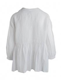 Blusa European Culture bianco avorio plissettata con coda