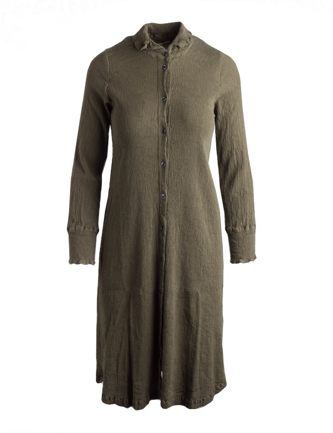 Crêperie long green dress with buttons and long sleeves TC05FH505-KHAKI-LONG-SHIRT womens dresses online shopping
