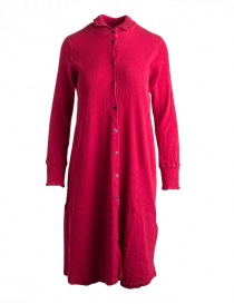 Abito lungo Crêperie manica lunga abbottonato rosso TC05FH505-RED-LONG-SHIRT order online