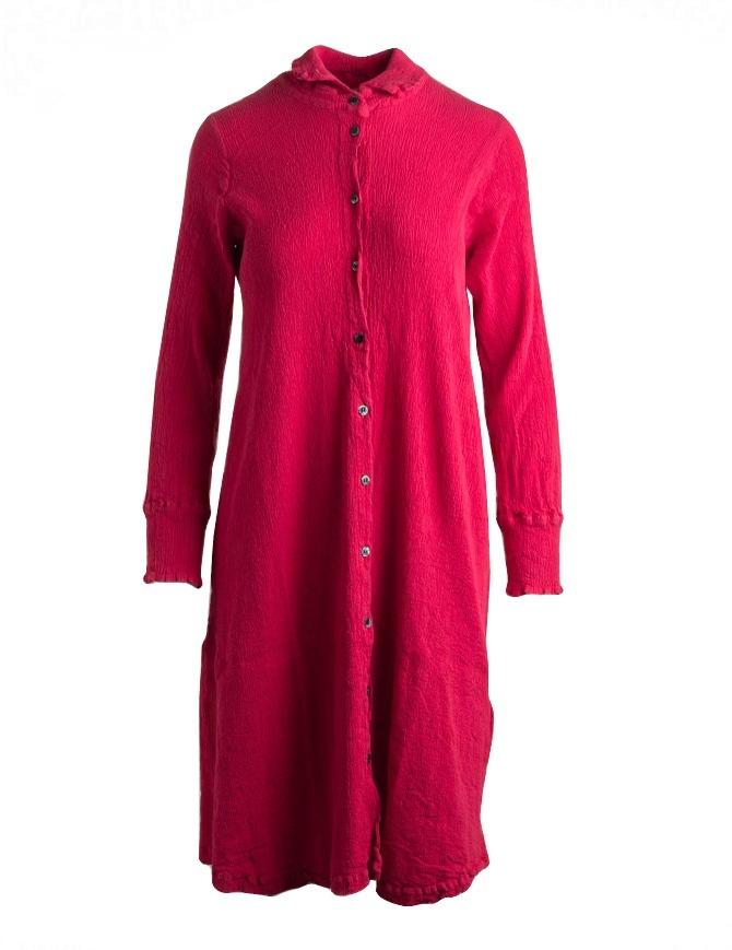 Abito lungo Crêperie manica lunga abbottonato rosso TC05FH505-RED-LONG-SHIRT abiti donna online shopping