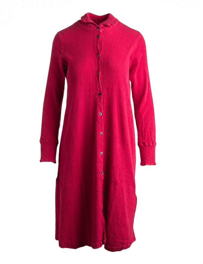 Crêperie long dress with long sleeves in red color TC05FH505-RED-LONG-SHIRT womens dresses online shopping