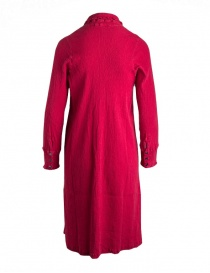 Crêperie long dress with long sleeves in red color