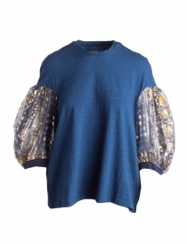 Womens knitwear online: Kapital blue sweater with puffy sleeves in tulle