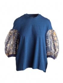 Maglieria donna online: Maglia Kapital blu con maniche a sbuffo in tulle