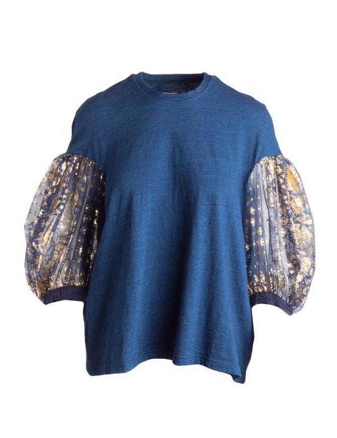 1b50bead55d7 Maglia Kapital blu con maniche a sbuffo in tulle KOR802SC45-IDG maglieria  donna online shopping