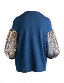 Maglia Kapital blu con maniche a sbuffo in tulle