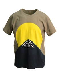 Mens t shirts online: Kapital t-shirt with yellow moon and Mount Fuji