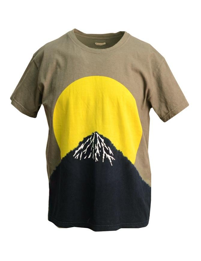 Kapital t-shirt with yellow moon and Mount Fuji K1805SC250 I-B MOON TSHIRT mens t shirts online shopping