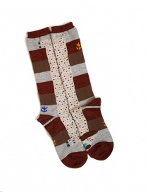 Socks online: Kapital brown socks with dachshund drawing