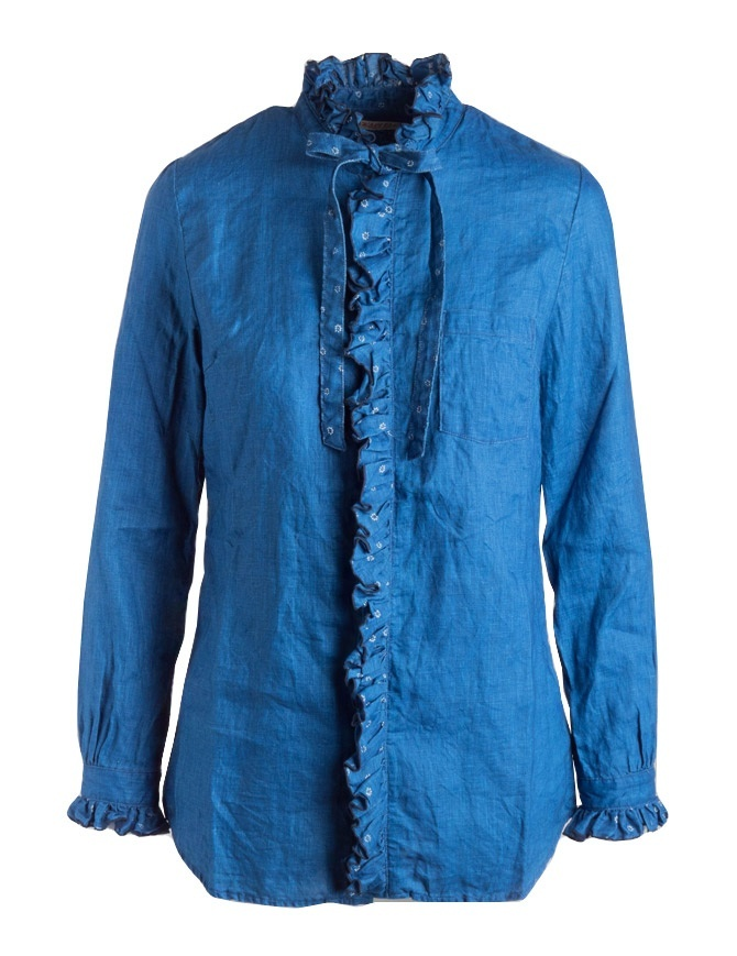 Camicia indaco Kapital con ruffles K1809LS036 IDG camicie donna online shopping
