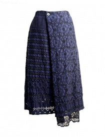 Womens skirts online: Plantation blue skirt with embroidery