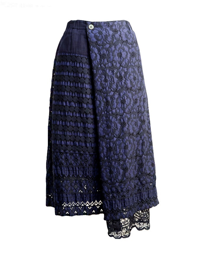 Plantation blue skirt with embroidery PL97FG066 BLACK womens skirts online shopping