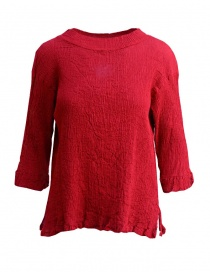 Plantation three-quarter sleeve t-shirt in red cotton crepe online