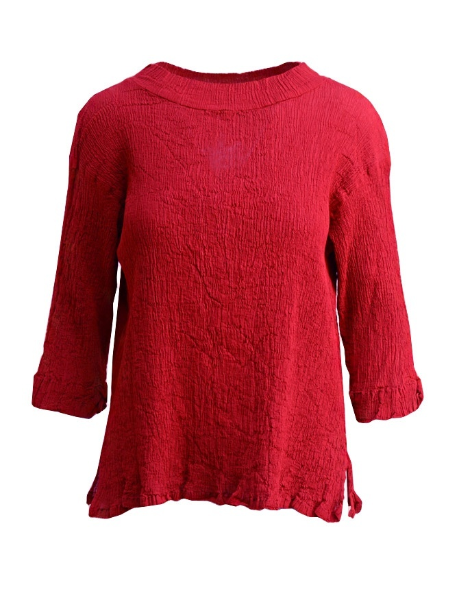 Plantation three-quarter sleeve t-shirt in red cotton crepe PL97FN143 RED womens shirts online shopping