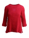 Plantation three-quarter sleeve t-shirt in red cotton crepe buy online PL97FN143 RED
