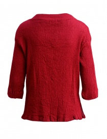 Plantation three-quarter sleeve t-shirt in red cotton crepe