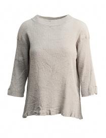 Womens shirts online: Plantation 3/4 sleeve grey crepe t-shirt
