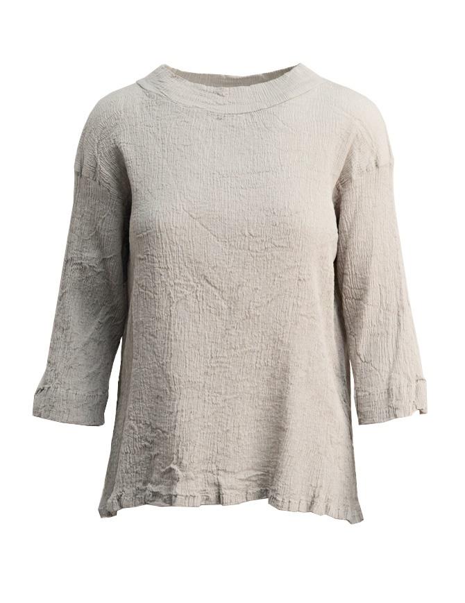 Plantation 3/4 sleeve grey crepe t-shirt PL97FN143 GREY womens shirts online shopping
