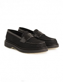 Adieu Type 5 loafer in black perforated fabric TYPE-5-RESILLA-POLIDO-BLK