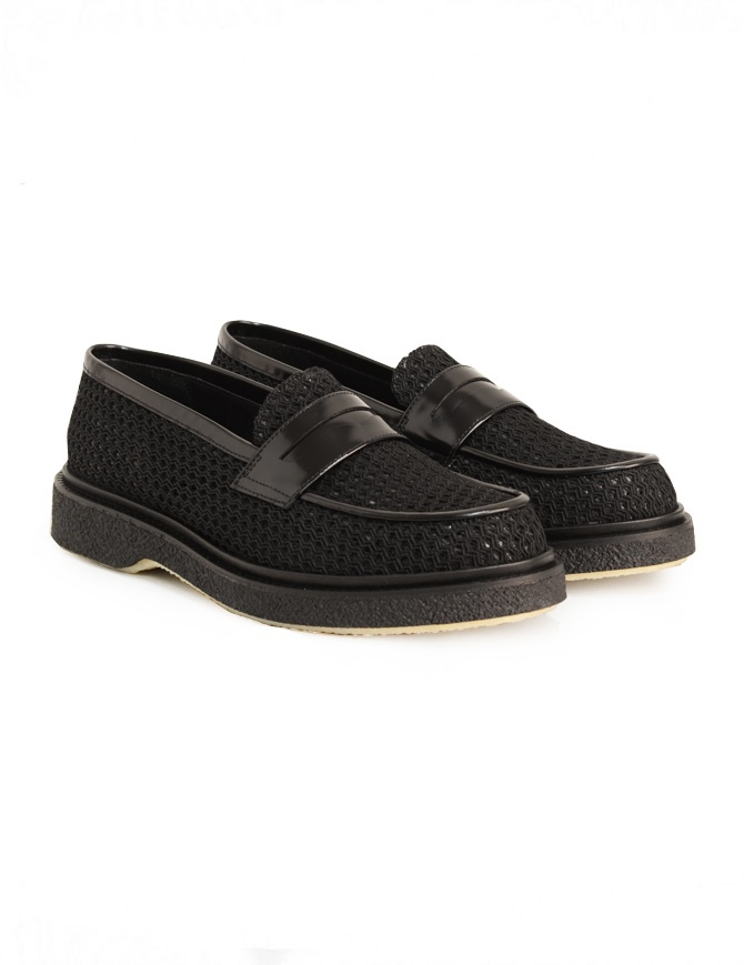 Mocassino Adieu Type 5 in tessuto traforato nero TYPE-5-RESILLA-POLIDO-BLK calzature uomo online shopping