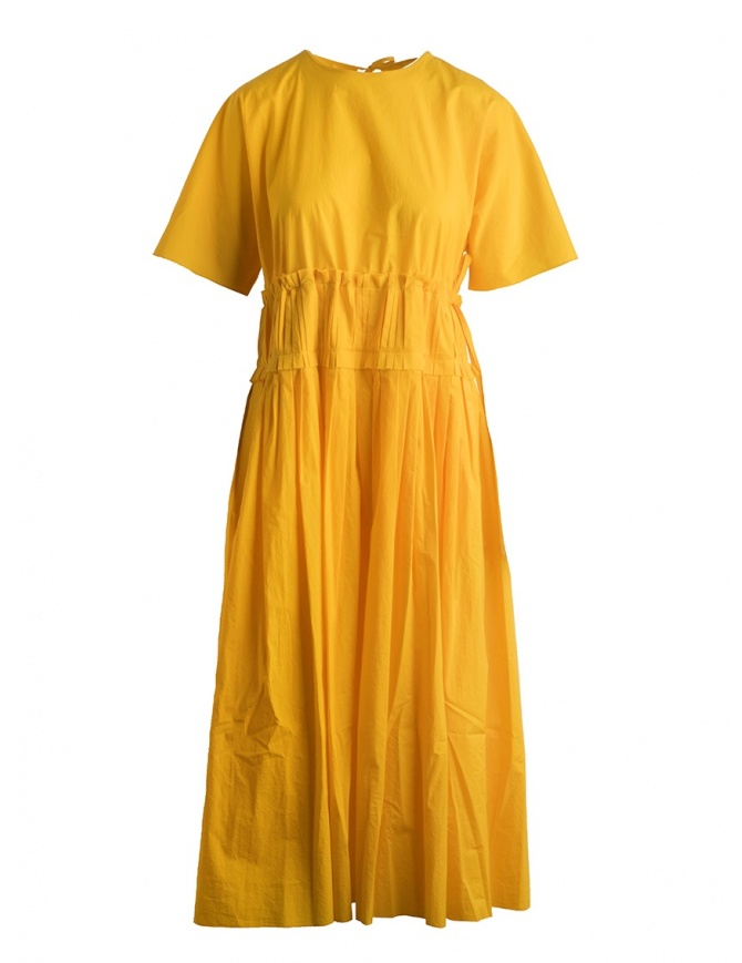 Sara Lanzi pleated long yellow dress SL SS19 01E.CO3.05 YELLOW