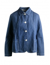 Womens shirts online: Casey Casey indigo linen shirt jacket