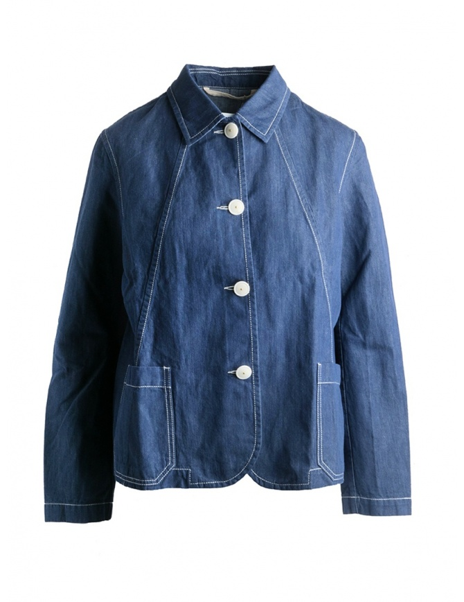 Giacca camicia Casey Casey lino indaco 12FV124 INDIGO camicie donna online shopping