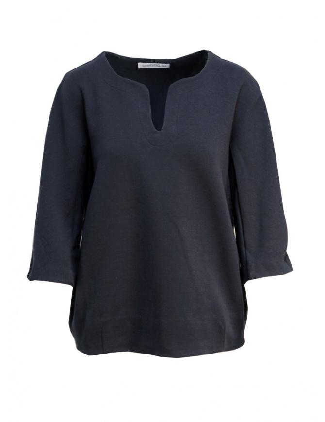 Maglia European Culture in felpa colore blu 46F0 2425 1508 maglieria donna online shopping