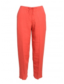 Womens trousers online: European Culture coral red trousers